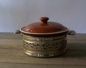 Vintage Ceramic Casserole ~ Decorative Metal Holder ~ Covered Casserole ~ Brown and White ~ HALL