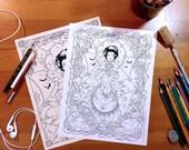 Adult Coloring Sheet - The Black Widow's Garden - 3 files, Printable, Instant Download, DIY, Halloween, Autumn, Vampire, Victorian, Expert