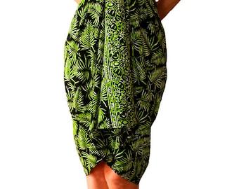 Hawaiian Batik Sarong Pareo Swimsuit Coverup Beach Sarong - Black & Green Tropical Leaf Sarong Beach Wrap Dress - Womens Beach Clothing