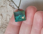 Engraved Heart Necklace Verdict Is Patina Metal Tag Vintage Brass - Little Heart, So Much Love No. 2