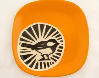 Chickadee Circle Plate - Bright Orange