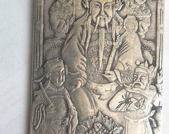 Tibetan Silver BUDDHA Thangka Talisman Handmade