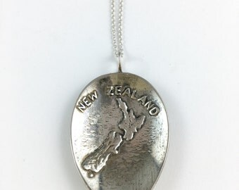 New Zealand Charm, New Zealand Map, New Zealand Jewelry, Spoon Necklace, Spoon Jewelry, New Zealand Jewelry, New Zealand Souvenir