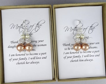 Rose Gold Pearl Earrings, Swarovski Ivory and Rose Gold Pearl Earrings, Mother of the Groom Gift, Mother of the Bride Gift, Gift for Moms