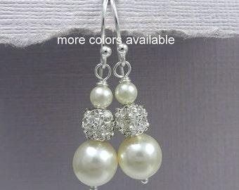 Ivory Pearl Earrings, Bridesmaid Earrings, Wedding Earrings, Swarovski Ivory Pearl Earrings, Bridesmaid Gift, Ivory Bridesmaid Earrings