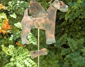 Airedale Terrier Dog  / Metal Garden Stake / Pet Memorial / Angel / Outdoor Yard Art / Copper Art / Grave Marker / Wire Haired Fox Terrier