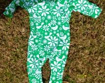 Baby Girl Romper/Onesie/Bodysuit/Pajamas- Sz 3-6mos-Organic Stretch Cotton- Stretchy Neck-Easy On- Green Birds-Handmade