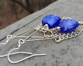 Chandelier earrings, chain earrings, blue glass earrings, bead earrings, dangle earrings