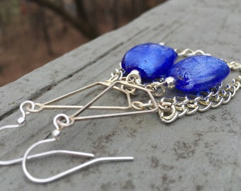 Chandelier earrings, chain earrings, blue glass earrings, bead earrings, dangle earrings