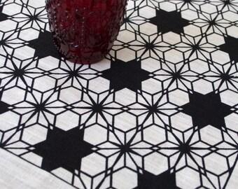 Moroccan Nights Black on Off White Linen Tea Towel