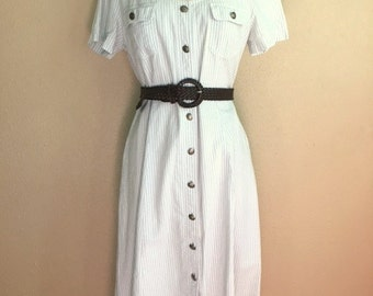 Vintage 80s PALE BLUE Striped Dress / Leslie Fay Button Maxi