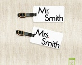 Personalized Luggage Tags Mr and Mrs  Last Name on Front, Printed Address, Quote or Text On Back All METAL tags VERSION 3