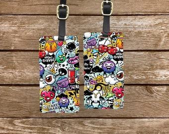 Luggage Tag Set Graffiti Art Metal Luggage Tag Set With Printed Custom Info On Back, 2 Tags Choice of Straps