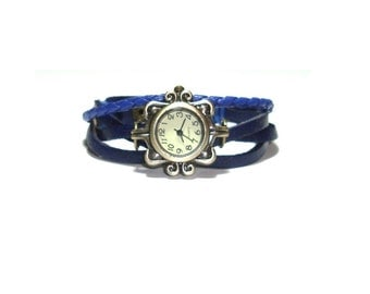 Blue Leather Wrist Watch  , Antique Bronze Watch Face ,  Braided Leather