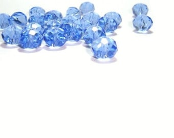 10MM  Faceted  Sapphire Blue Crystal Rondelles ,  Light Sapphire Crystal Rondelle Beads , 24 Pcs