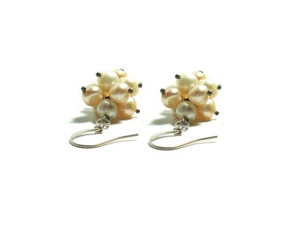 Sterling Silver Freshwater Pearl Earrings , Gift For her , Cluster Pearls