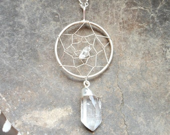 Silver dreamcatcher necklace silver dipped crystal quartz point silver dream catcher necklace bohemian jewelry