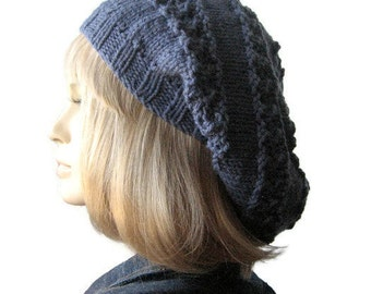 Hand Knit Hat, Womens Blue Denim Lace Striped Slouchy Hat, Vegan Knits, The Stacey Hat, Womens Denim Knitted Hat Fall Fashion