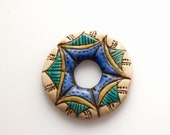 Rustic Donut Washer Connector Bead in Green and Blue with Geometric Design