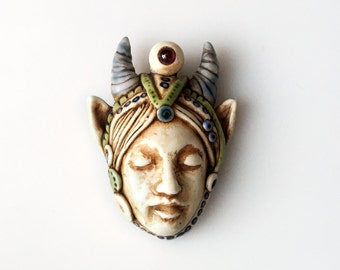 Fantastical Dreaming Woman Pendant with Horns