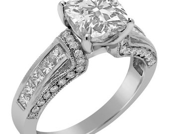 Cushion Antique Style diamond engagement ring C49