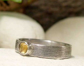 Silver Citrine Ring, Sterling Silver Ring, Yellow Gemstone Ring, November Birthstone Cabochon Ring, Rustic Oxidized Brushed Silver Ring Band
