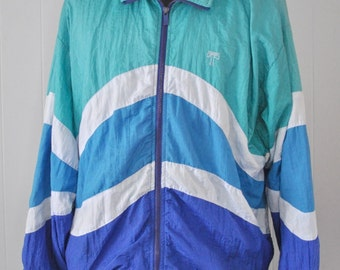 Vintage Windbreaker Jacket Teal Blue Ocean Waves Wavy Diagonals 90s Running Ladies Large XL