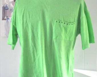 Vintage Surf Tee Neon Green Striped Collar by Leggoons Oversized TShirt Boyfriend Baggy Beach Coverup Ocean XL