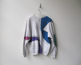 1990s vintage hand painted cotton sweat shirt