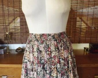 Vintage 90s Crinkle Floral Chiffon Mini Circle Skirt M Free US Shipping