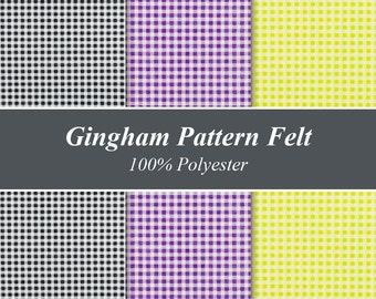 """Gingham Pattern Felt Sheets - 12"""" X 12"""", Multiple Pack Sizes Available"""