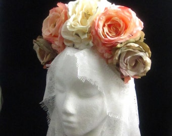 OOAK At First Blush Headdress for Day of the Dead/Wedding/Cospay