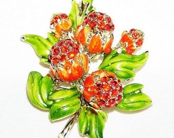 Hollycraft Signed Red-Orange Flower Brooch c.1960s
