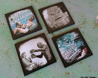 Creature From The Black Lagoon sci fi coasters - set of 4 wooden coasters - halloween decor, horror movie, poster, geekery, monster movie