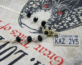 "Supernatural inspired License Plate Jet Black Crystal Necklace Galvanized Metallic Silver -  ""Baby Love"""