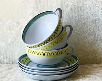 Vintage Arabia Finland Cups Saucers Crown Band 3 SALE