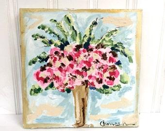 SAMPLE SALE - Sweet Pink Floral Original Painting - Bronwyn Hanahan Art