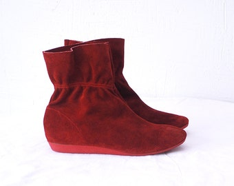 80s red suede boots. pixie boots. suede ankle boots - eur 37-37.5, uk 4-4.5, us 6.5-7
