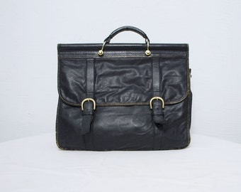 90s large briefcase. black leather bag. laptop bag