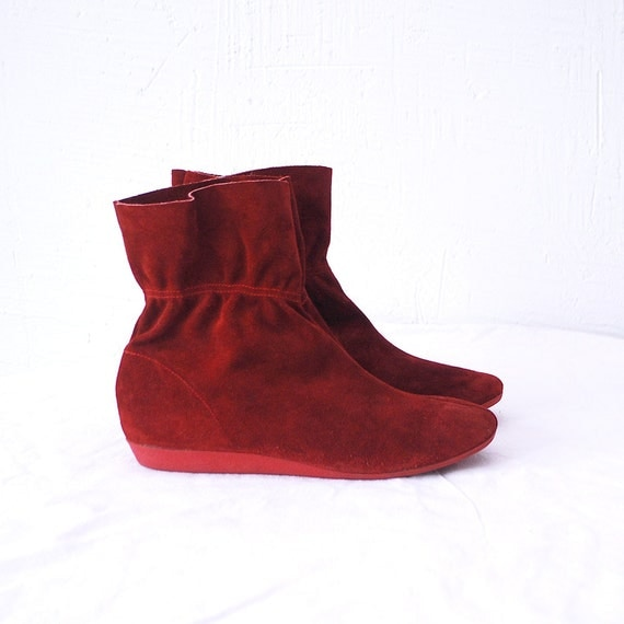 80s suede boots pixie boots suede ankle boots eur
