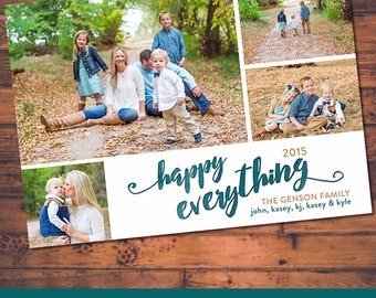 Four Picture Brush Stroke Happy Everything Digital Card Design (5x7 or Costco 6x7.5)