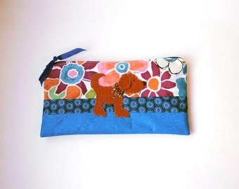 """Zipper Pouch, 4.5x8.75"""" in blue, orange, berry, green, cream and navy flowers with Handmade Felt Dog Embellishment, Puppy Pencil Case"""