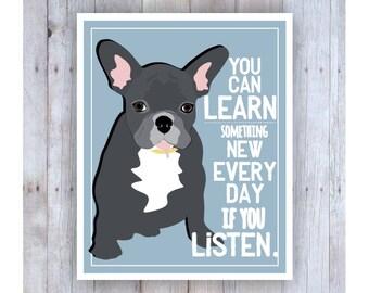 Classroom Art, Childrens Wall Art, French Bulldog Art, Puppy Dog, Classroom Decor, Inspirational Art, Motivational, Print for Kid, Pet Lover