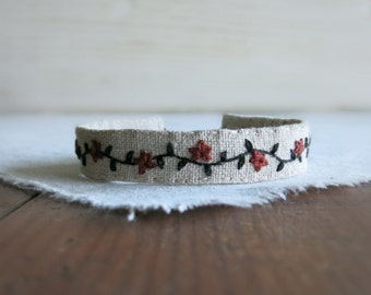 Hand Embroidered Fabric Cuff Bracelet - Brown and Black Embroidery on Natural Linen Bracelet
