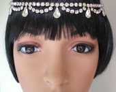 Rhinestone Headpiece Art Deco Headpiece Great Gatsby Crystal Headband Tikka Upcycled Vintage Diamante Hairband Wedding