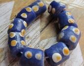 Blue White Orange Dot African Krobo Bead, African Trade Bead, Ghana Bead, Glass Bead, African Glass Beads, Teal Beads, Beads