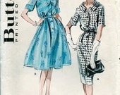 1950s Vintage BUTTERICK  Pattern 8974 /  Women's  High Fashion Full or Slim Shirtwaist Dresses / size 44 * Bust 46