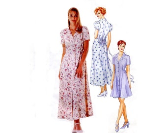 1990s Day Dress Pattern Front Button Shirt Dress Notched Collar Short or Tea Length McCalls 8055 Bust 32 34 36 Sewing Pattern