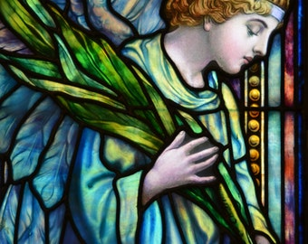 Angel Holding Palms - Fine Art Canvas Print of Antique Stained Glass Window