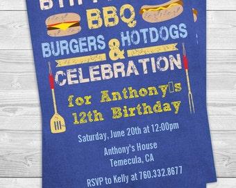 BBQ Hotdogs and Hamburgers - Birthday Party Invitation Professionally printed *or* DIY printable PDF